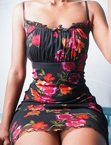 povoljno Floral Patterns Dresses-Žene Haljina s remenom Mini haljina - Bez rukávů Cvjetni print Nabori Print Ljeto Lađa izrez Sexy Dnevno Slim 2020 Crn S M L XL XXL