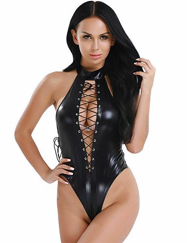 cheap Sexy Bodies-Women's Backless Cut Out Uniforms & Cheongsams Bodysuits Nightwear Solid Colored Black S M L