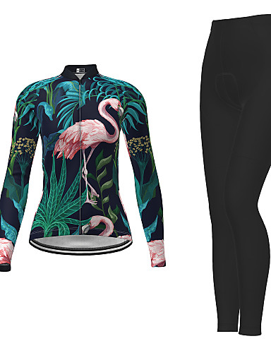 cheap Cycling Jersey & Shorts / Pants Sets-21Grams Men's Women's Long Sleeve Cycling Jersey with Tights Winter Polyester Dark Green Novelty Bike Jersey Tights Clothing Suit Breathable Quick Dry Moisture Wicking Back Pocket Sports Novelty