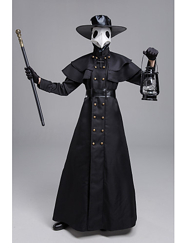 cheap Halloween & Carnival Costumes-Plague Doctor Adults' Women's Medieval Vacation Dress Halloween Halloween Festival Halloween Festival / Holiday Polyester Black Women's Men's Easy Carnival Costumes Solid Colored / Gloves / Mask