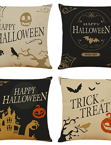 cheap Halloween Decoration-Halloween Party Halloween Decor Horror Ghost 1 Set of 4 pcs Halloween Series Decorative Linen Throw Pillow Cover for Halloween Gift Home Decoration,18 x 18 inches 45 x 45 cm