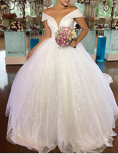 cheap Wedding Dresses-A-Line Wedding Dresses V Neck Floor Length Tulle Sleeveless Formal with Pleats 2020