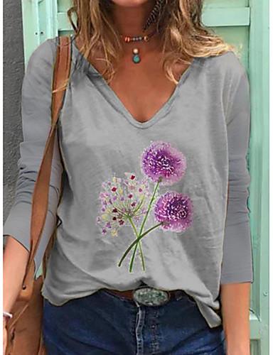 billige Topper til damer-Dame T-skjorte Blomstret Langermet Trykt mønster V-hals Topper Bomull Grunnleggende Grunnleggende topp Hvit Blå Gul