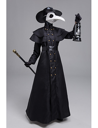 cheap Cosplay & Costumes-Plague Doctor Steampunk Coat Men's Rivet Costume Black Vintage Cosplay Halloween Masquerade Long Sleeve Sheath / Column / Gloves / Mask / Hat / Waist Belt / Gloves