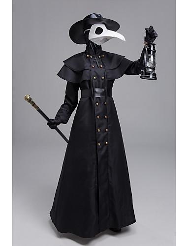 cheap Cosplay & Costumes-Plague Doctor Steampunk Coat Men's Rivet Costume Black Vintage Cosplay Halloween Masquerade Long Sleeve Sheath / Column / Gloves / Mask / Hat / Waist Belt