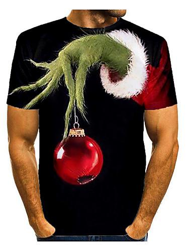 Men's 3D Graphic T-shirt Short Sleeve Christmas Tops Basic Round Neck Black