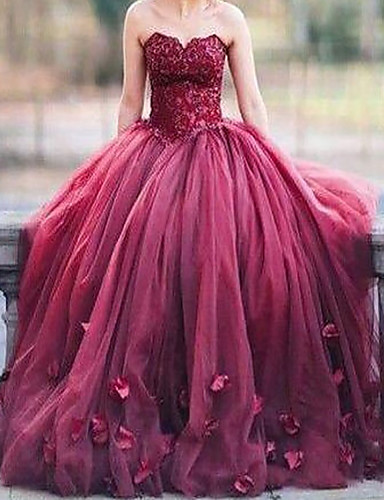 cheap Prom Dresses-Ball Gown Floral Luxurious Quinceanera Formal Evening Dress Strapless Sleeveless Sweep / Brush Train Tulle with Pleats 2020