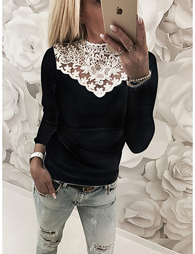 cheap Women's Blouses & Shirts-Women's Plus Size Blouse Shirt Color Block Long Sleeve Lace Patchwork Round Neck Tops Slim Sexy Basic Top White Black Blushing Pink
