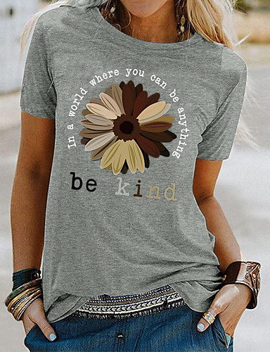 cheap Women's Clothing-Women's T shirt Floral Flower Sunflower Print Round Neck Tops Basic Basic Top White Black Blue
