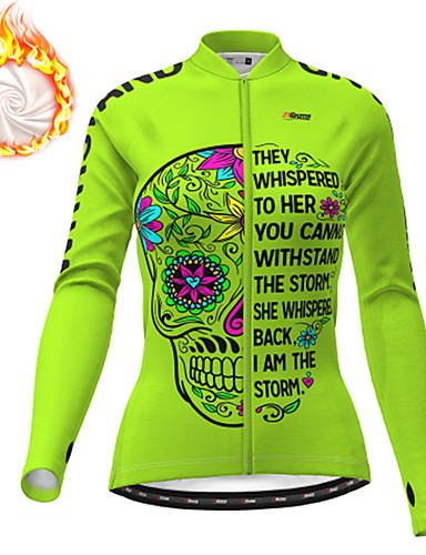 cheap Cycling Clothing-21Grams Women's Long Sleeve Cycling Jacket Winter Fleece Polyester Blue Orange Green Skull Floral Botanical Funny Bike Jacket Top Mountain Bike MTB Road Bike Cycling Thermal Warm Fleece Lining