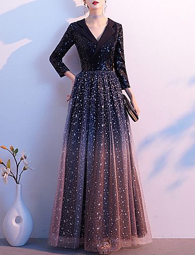 cheap Special Occasion Dresses-A-Line Color Block Sparkle Wedding Guest Formal Evening Dress V Neck 3/4 Length Sleeve Floor Length Tulle Sequined with Sequin 2020