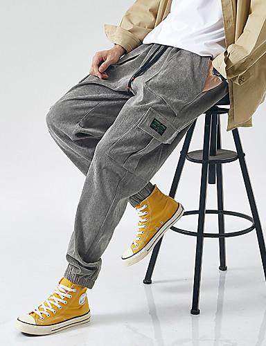 abordables Chino-Homme Basique Chic de Rue Soirée Sortie Jogger Chino Pantalon Couleur Pleine Cordon Extérieur Noir Marron Gris M L XL
