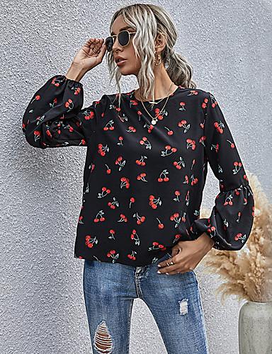billige Topper til damer-Dame Bluse Skjorte Frukt Langermet Lapper Trykt mønster Rund hals Topper Grunnleggende Grunnleggende topp Svart