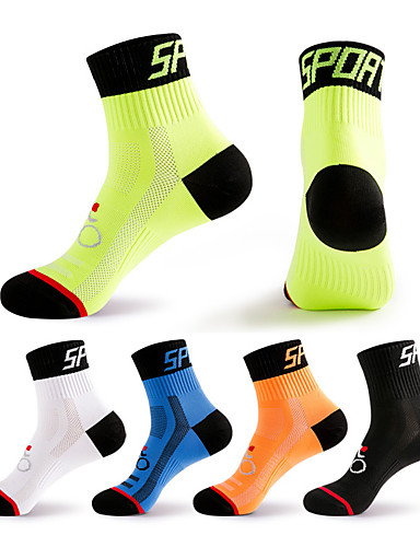 cheap Summer Discount-Compression Socks Athletic Sports Socks Crew Socks Cycling Socks Men's Football / Soccer Cycling / Bike Bike / Cycling Breathable Wearable 1 Pair Winter Solid Color Chinlon Black White Orange M L XL
