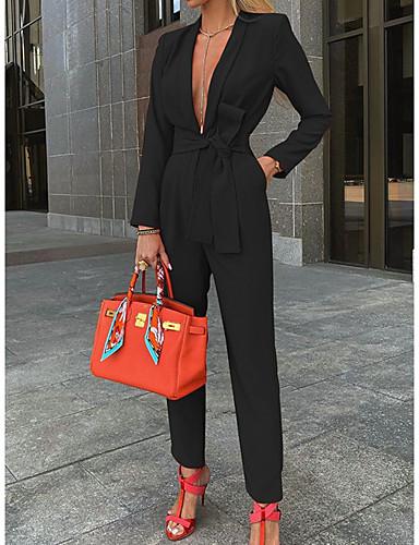 povoljno Ženski jednodijelni kostimi-Žene Ulični šik Crn Red Bijela Jumpsuits Jednobojni