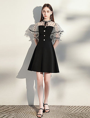 cheap Homecoming Dresses-A-Line Minimalist Vintage Homecoming Cocktail Party Dress High Neck Short Sleeve Short / Mini Spandex with Buttons 2020