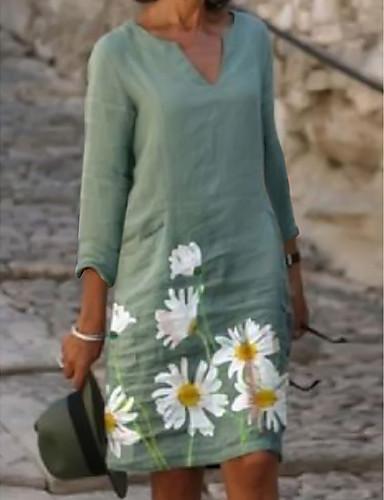 povoljno Floral Patterns Dresses-Žene Shift haljina Haljina do koljena - Rukava do lakta Print Print Ljeto V izrez Ležerne prilike Dnevno Širok kroj 2020 Svijetlo zelena Svjetloplav S M L XL XXL 3XL 4XL 5XL