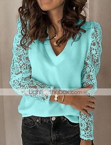 cheap Women's Tops-Women's Blouse Shirt Solid Colored Long Sleeve Lace V Neck Tops Chiffon Lace Basic Top White Black Blue