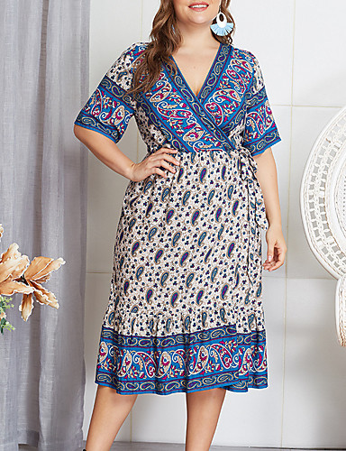 cheap Plus Size Dresses-Women's A-Line Dress Midi Dress - Short Sleeve Floral Patchwork Print Summer V Neck Elegant Daily Going out Cotton Slim 2020 Blue XL XXL XXXL XXXXL