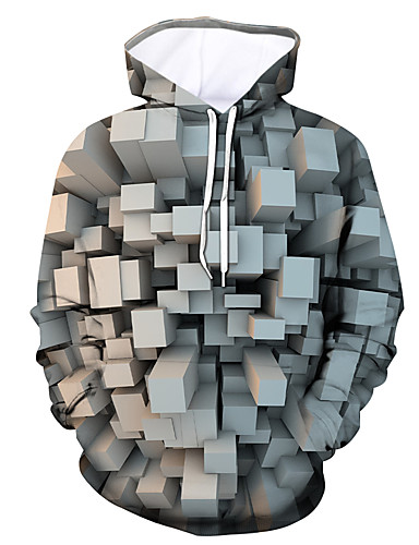 cheap Men's Clothing-Men's Pullover Hoodie Sweatshirt Graphic Hooded Daily Going out 3D Print Casual Hoodies Sweatshirts  Long Sleeve Gray