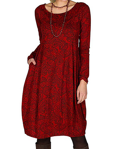 cheap Pre Sale-Women's Shift Dress Knee Length Dress - Long Sleeve Floral Print Spring Fall Casual 2020 Red Brown M L XL XXL 3XL