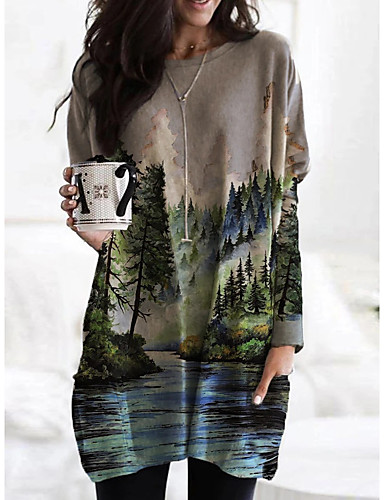 billiga Damklänningar-Dam T shirtklänning Kort miniklänning Grå Långärmad Färgblock Tryck Höst V-hals Ledigt 2021 S M L XL XXL 3XL