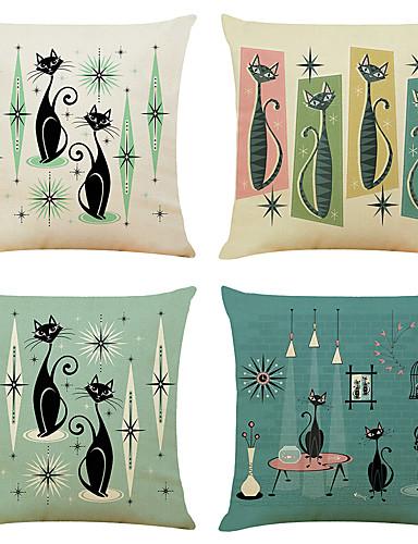 economico Casa e giardino-set di 4 fodere per cuscini decorativi quadrati in lino per gatti con fodere per cuscini per divano 18x18