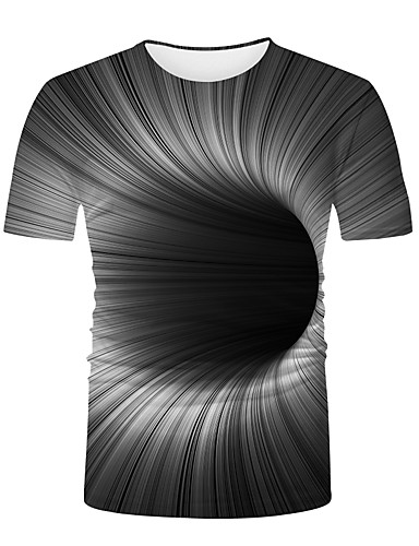 cheap Men's Clothing-Men's T shirt 3D Print Graphic Optical Illusion 3D Print Print Short Sleeve Casual Tops Basic Fashion Cool Black / White