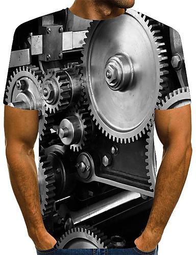 preiswerte Herrenmode-Herren T-Shirt 3D-Druck Grafik Übergrössen Druck Kurzarm Alltag Oberteile Street Schick Schwarz