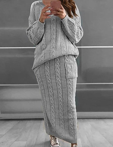 cheap Sweaters & Cardigans-Women's Two Piece Set Streetwear Sophisticated Patchwork Sweater Tops Skirt Set Date Work Solid Color