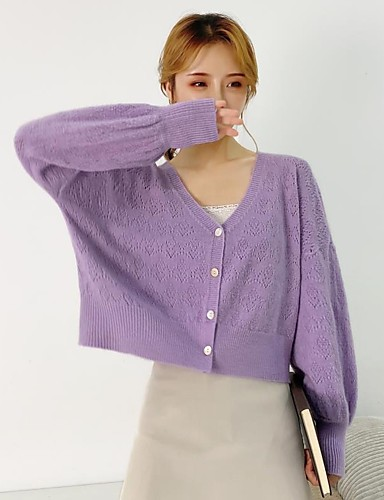 cheap 2020 F/W-Women's Stylish Knitted Solid Color Plain Cardigan Rabbit Fur Long Sleeve Sweater Cardigans Open Front Fall Winter Purple Green