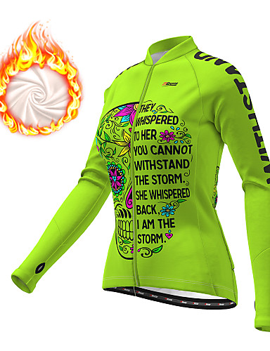 cheap Cycling-21Grams Women's Long Sleeve Cycling Jersey Winter Fleece Polyester Blue Orange Green Skull Floral Botanical Funny Bike Jacket Jersey Top Mountain Bike MTB Road Bike Cycling Thermal Warm Fleece Lining