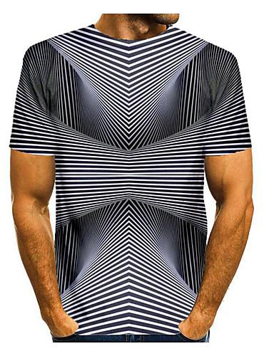 billige Herreklær-Herre T skjorte 3D-utskrift Grafisk Abstrakt 3D Trykt mønster Kortermet Daglig Topper Svart / Hvit