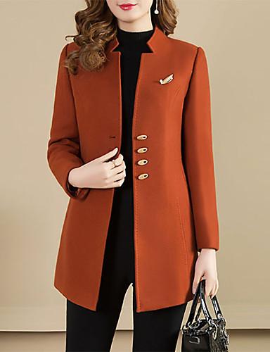 billige Overtøj til damer-Dame Enradet Peak Lapel Frakke Normal Ensfarvet Daglig Vintage Kamel M L XL