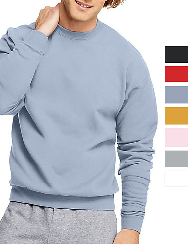 cheap Sports Athleisure-Men's Sweatshirt Pullover Sweatshirts Black White Blue Pink Oversized Crew Neck Solid Color Cool Sport Athleisure Pullover Long Sleeve Warm Soft Comfortable Everyday Use Causal Exercising General Use