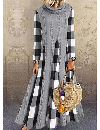 cheap Women's Dresses-Women's Sweater Jumper Dress Maxi long Dress - Long Sleeve Color Block Check Patchwork Spring Fall Casual Loose 2020 Gray M L XL XXL 3XL