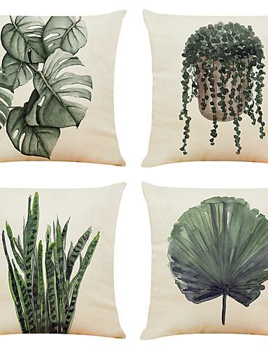 economico Casa e giardino-set di 4 federe per cuscini decorativi quadrati in lino piante verdi fodere per cuscini per divani 18x18