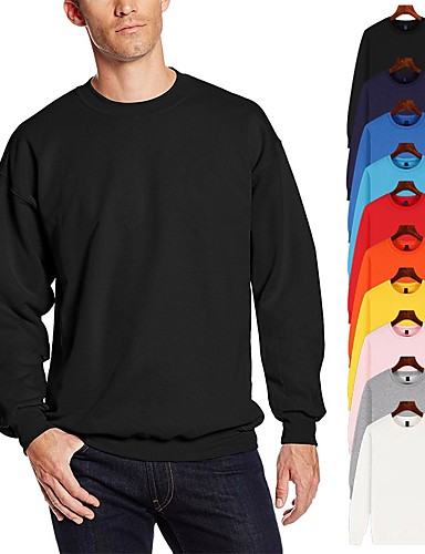 cheap Sports Athleisure-Men's Pullover Hoodie Sweatshirt Black White Blue Oversized Crew Neck Cotton Solid Color Cool Sport Athleisure Top Long Sleeve Breathable Soft Comfortable Plus Size Exercise & Fitness Running