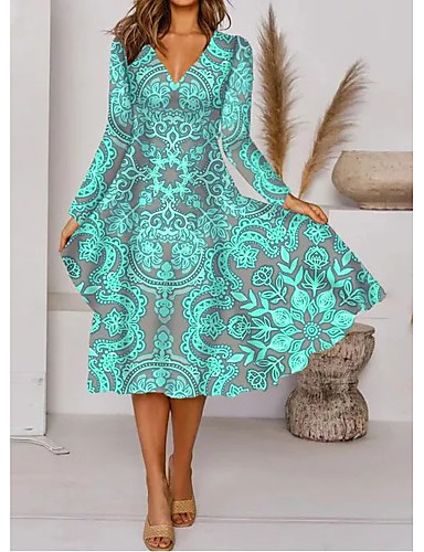cheap Women's Dresses-Women's A-Line Dress Midi Dress - Long Sleeve Floral Print Fall Elegant 2020 Green M L XL XXL 3XL