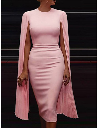 Party Dresses-Sheath / Column Chic & Modern Holiday Cocktail Party Dress Jewel Neck Sleeveless Knee Length Chiffon with Draping 2020