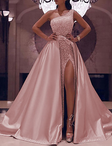 cheap Prom Dresses-Ball Gown Elegant Sparkle Party Wear Prom Dress One Shoulder Sleeveless Floor Length Satin with Bow(s) Sequin Split 2020