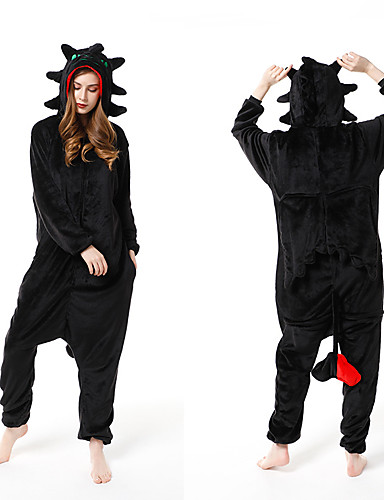 cheap Kigurumi Pajamas-Adults' Kigurumi Pajamas Dinosaur Onesie Pajamas Flannel Fabric Black Cosplay For Men and Women Animal Sleepwear Cartoon Festival / Holiday Costumes