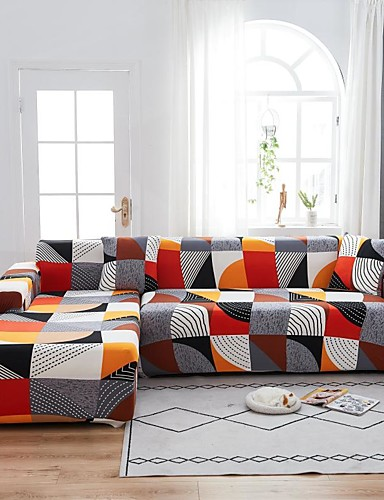 cheap Sofa Cover-Geometric Print 1-Piece Sofa Cover Couch Cover Furniture Protector Soft Stretch Sofa Slipcover Spandex Jacquard Fabric Super Fit for 1~4 Cushion Couch and L Shape Sofa,Easy to Install