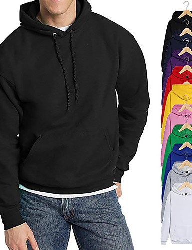 cheap Sports Athleisure-Men's Pullover Hoodie Sweatshirt Black White Blue Pink Pure Color Pocket Drawstring Cowl Neck Fleece Solid Color Cool Sport Athleisure Top Long Sleeve Breathable Soft Oversized Comfortable Gym Yoga