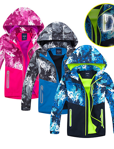 cheap Outdoor Clothing-Boys' Girls' Hiking Jacket Hiking Windbreaker Winter Outdoor Camo Waterproof Windproof Fleece Lining Breathable Jacket Winter Jacket Top Fleece Full Length Visible Zipper Ski / Snowboard Climbing