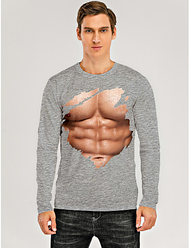 cheap Men's Clothing-Men's T shirt 3D Print Graphic 3D Muscle Print Long Sleeve Daily Tops Gray