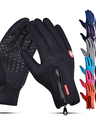 cheap Running & Jogging Clothing-Winter Gloves Running Gloves Full Finger Gloves Anti-Slip Touch Screen Thermal Warm Cold Weather Men's Women's Lining Zipper Skiing Hiking Running Driving Cycling Texting Fleece Neoprene Winter / SBR