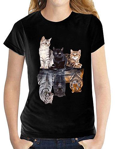 cheap Women's Clothing-Women's T shirt Butterfly Graphic Prints Round Neck Tops 100% Cotton Basic Top Black and White Cat White