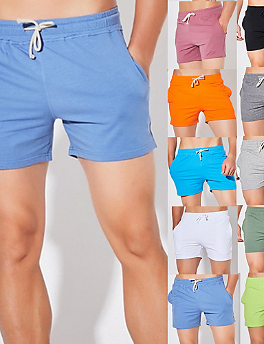 cheap Running & Jogging Clothing-Men's Running Shorts Athletic Shorts Bottoms Drawstring Cotton Fitness Gym Workout Running Breathable Quick Dry Soft Plus Size Sport Solid Colored Forest Green Neon Green White Black Orange Light Grey