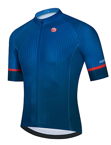 cheap Sports & Outdoors-21Grams Men's Short Sleeve Cycling Jersey Dark Blue Solid Color Bike Jersey Top Mountain Bike MTB Road Bike Cycling Breathable Quick Dry Sports Clothing Apparel / Stretchy / Athletic